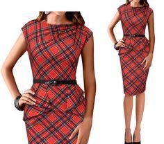 LIVA GIRL Plaid Sheath Dress with Belt | YESSTYLE