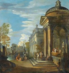 Giovanni Paolo Panini (Piacenza 1691 - 1765 Rome) - A CAPRICCIO OF CLASSICAL BUILDINGS BY A POOL ; SIGNED WITH THE MONOGRAM GPP LOWER LEFT; Oil on Canvas ; Bears a letter H in the lower left corner - Dim: 93 x 93 cm ; 36 5/8  by 36 5/8  in.