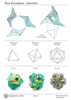 Diagram for a modular origami ball, Etna Kusudama, designed by Maria Sinayskaya. Folded with 30 rectangular sheets of paper, assembled without glue. Origami Design, Instruções Origami, Origami Modular, Origami Paper Folding, Origami Yoda, Origami And Kirigami, Origami Ball, Origami Dragon, Origami Fish