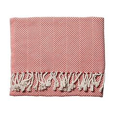 Coral Herringbone Throw | Serena & Lily... I want it, but I can't justify the price!