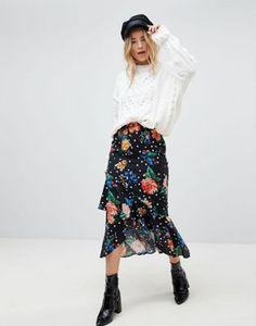 ASOS - Jupe mi-longue avec volant et motif fleurs et pois