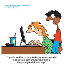 """This cartoon pokes fun at the lack of risk in online dating, and the assurance that it gives some people. The ability to remove a person who you find out is not for you with a """"click"""" is easier than severing communications with them in the real world. It is interesting to see that some people prefer this safer style of dating, knowing that it may not lead to better fortune in the future. (Some services claim 1 in 4 relationships begin online, but that's probably not true)."""