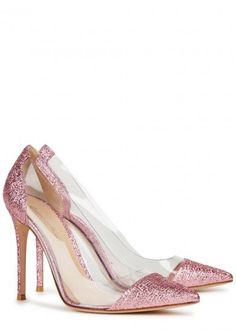 f144a09f93d Hand finished Gianvito Rossi pink lamé pumps Heel measures approximately 4  inches  100mm Perspex panels