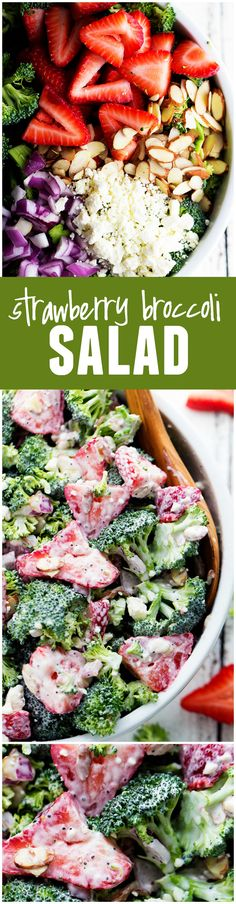 This Strawberry Broccoli Salad will be the BEST thing that you take to a potluck!!! The creamy dressing on top is the BEST!
