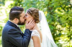 Romantic kissing portrait of bride and groom | Ashley Gerrity Photography | Whitemarsh Country Club, Lafayette Hill Wedding