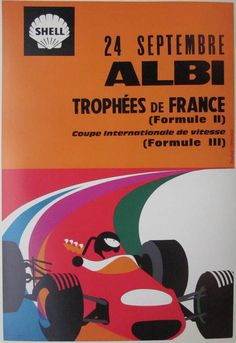 24 Septembre Albi Trophées De France / 15 x 23 in (39 x 59 cm) / Description: In bright, vibrant colors and dynamic curves, this poster transports us to the races themselves.