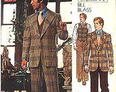 Vintage Vogue Americana Pattern 2916, Size 40, Bill Blass Men's Jacket, Pants and Vest