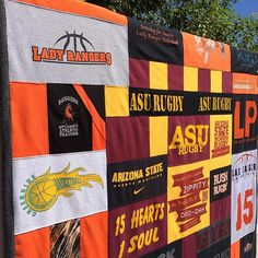ASU Women's Rugby and high school basketball t shirt memory quilt. It felt good to get back to sewing again this week after having 11 days off to see our daughter play college volleyball. #makingmemories #auroracolorado #tshirtquiltmaker #memoryquiltmaker