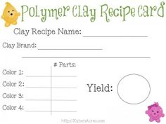 FREE Polymer Clay Recipe Cards  You know what I love? Free stuff. Know what? I bet you do too!  FREE Polymer Clay Recipe Cards As a special gift to you, here's a cute polymer clay recipe card PDF that you can print out as many times as you like.  All you have to do is download the document ...