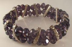 Amethyst  crystal stretch Bracelet~$32.00