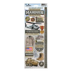 Marines Cardstock Stickers From Paper House, this 4- 1/2x13 inch sticker sheet…
