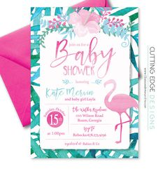 flamingo baby shower invitation baby shower by