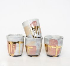 Beautiful gold, pink and grey painted ceramic mini plant holders are so unique, and add a lovely metallic and modern element to your home.