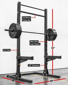 Serious strength training in a garage or home gym requires a power rack or squat rack. Home Gym Basement, Home Gym Garage, Gym Room At Home, Homemade Gym Equipment, Diy Gym Equipment, Workout Equipment, Home Made Gym, Diy Home Gym, Squat Rack Diy