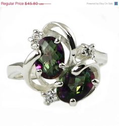 Mystic Fire Topaz double stone ring