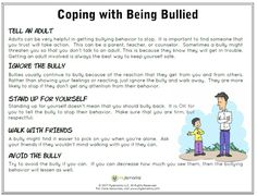 Helpful tips to cope with being bullied! #mylemarks #copingskills #bullying #bystanderintervention