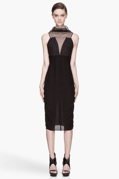 RICK OWENS Black semi-sheer silk Prong Dress
