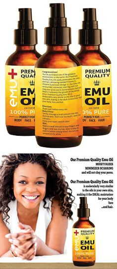 """Emu oil for hair Premium Quality Emu Oil for Hair Growth, Grade """"A"""" Australian Emu Oil for Face, for Body, 100% Pure for Scars, for Acne and Even for Pain! - Amazing Natural Remedy - Nourishes Your Thirsty Skin. 4 Oz. $24.95 & FREE Shipping on orders over $49."""