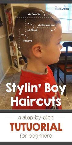 Stylin' boy haircut: Step-by-step tutorial - Boys haircuts - Boy Haircuts Short, Toddler Haircuts, Little Boy Hairstyles, Baby Boy Haircuts, Haircuts For Men, Diy Hairstyles, Toddler Haircut Boy, Haircut Short, Haircuts For Little Boys