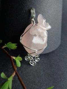 Rose Quartz Pendant  Wire Wrapped Pendant by IrisJewelryCreations, $28.00