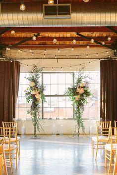 industrial meets romantic, photo by Apryl Ann Photography http://ruffledblog.com/romantic-hickory-street-annex-wedding #weddingceremony #ceremony