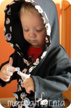 Child's bathrobe. Easy sewing tutorial. No pattern. Use a hoodie that fits your child well for a starting point.