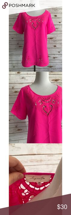 Sugar lips bright pink laser cut blouse Size medium, in excellent pre owned condition, no flaws! Length-25 Bust-19 :: ***Please note: All devices are different and may show colors differently from one device to another. I try my best to describe colors as accurately as possible. All photos are taken with an iPhone. Sugarlips Tops Blouses