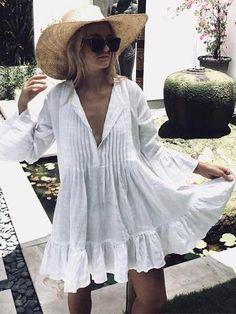 Stylishparis Solid Color Long Sleeves Cover-up Mini Dresses Swimwear Cover Ups, Bikini Cover Up, Swimsuit Cover, Plus Dresses, Mini Dresses, Dresses With Sleeves, Cotton Dresses, Bohemian Bikini, Bohemia Dress