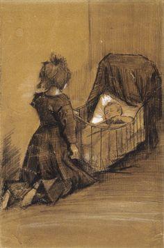 Vincent van Gogh, Meisje geknield bij een wieg, 1883, Den Haag, potlood, krijt, waterverf, op papier, Van Gogh Museum Amsterdam.