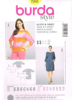 Burda Style 7203, Sewing Pattern, Misses' Dress and Top, Size 10, 12, 14, 16, 18, 20, 22, Plus Size by OhSewWorthIt on Etsy