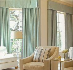 box pleat pelmet; mint curtains with meander trim