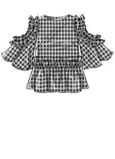 McCalls Misses 'Tops - Tops Patterns - Kleidung Dress Design Sketches, Fashion Design Sketches, Mccalls Sewing Patterns, Vogue Patterns, Dress Drawing, Drawing Clothes, Moda Fashion, Fashion Sewing, Illustration Mode