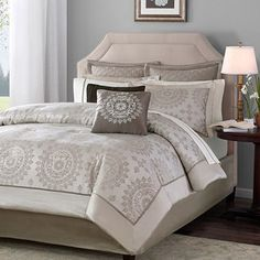I think I might really like this if the walls were coral or another lively color. Too much neutral here. Home Essence Madeline 12-Piece Bedding Comforter Set, Tan