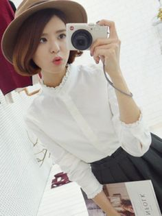 Out Let Stand Collar Lace Joint Korean Style Lacy Shirt 7b22aaf86eeb