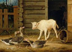 Ferdinand von Wright (1822-1906) Ensi yllätys / First surprise 1889 - Finland - calf, geese, Finnish cow