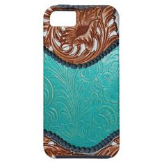 Turquoise Tooled and Brown Leather Print iPhone 5 Cases