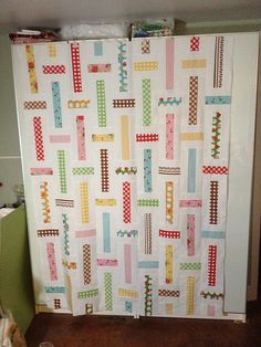 Siblings together Sew cherry lawn chair quilt by PDDJLGB - Sew strips of jellyroll surrounded by solid, then cut into subs and double subs. Cute Quilts, Easy Quilts, Strip Quilts, Quilt Blocks, Quilting Projects, Quilting Designs, Sewing Projects, Quilting Ideas, Jellyroll Quilts