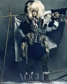 """Eskimo inspired editorial entitled, """"Queen of Snow"""" featuring Korean talent all the way around. Photographer Hong Jang Hyun captures models Han Hye Jin, Song Kyung Ah, and Jang Yoon Ju styled by Jiah Yi for the January 2012 issue of Vogue Korea. Vogue Editorial, Editorial Fashion, Snow Fashion, Fashion Art, Winter Fashion, Nomad Fashion, Vogue Fashion, Vogue Korea, High Fashion Photography"""