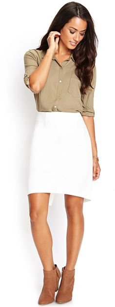 LOVE 21 Asymmetrical Knee-Length Skirt