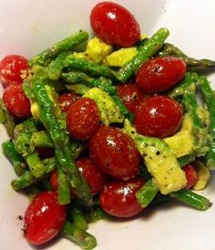 Avocado tomato asparagus salad. Maybe grilled asparagus too. Add mozzarella or artichokes?