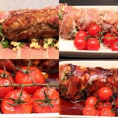 Parmasurret svinefilet med balsamicosjy, sellerirotmos og tomater