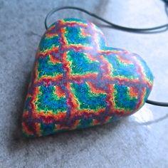 https://flic.kr/p/sCb4nv   Rainbow Tie Dye Chevron Hollow Heart Pendant by Deb Hart