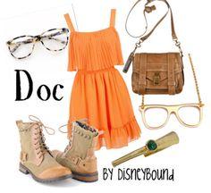 Doc - Snow White & the Seven Dwarfs. Orange peach dress. Boots