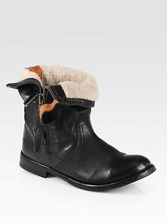 Burberry  Kerry Shearling-Lined Leather Fold-Over Boots>>saks fifth avenue