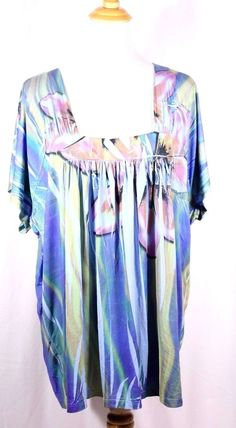 One World Plus Size Top 1X Square Neckline Blues Floral Tunic Blouse Shirt  #OneWorld #Tunic #Career