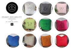 Kissen mit Namen der Familie handgedruckt und personalisiert.