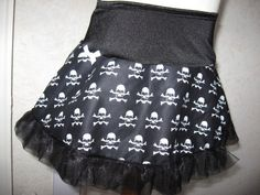 Mini Baby Girls Gothic Alternative Clothing Black,white Skull Skirt,Rock,Pirate