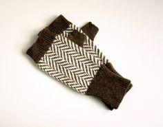 Gloves Fingerless Gloves Chevron Wool Herringbone Tweed Gloves Knitted Fingerless Gloves Dark Brown and Cream Knitted Gloves Brown Gloves. $35.00, via Etsy.