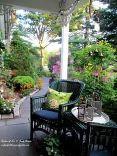 Morning coffee on the porch - come see this beautiful garden! (Garden of Len & Barb Rosen)