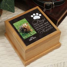 Personalized Pet Memorial Photo Urn Dog Wood Box by PreppyPinkies